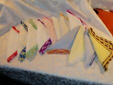 12 Vintage Crocheted Edges Ladies Handkerchiefs