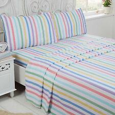 Rapport Candy Stripe 100 Brushed Sheet Set Multi Cotton Multi-colour Double