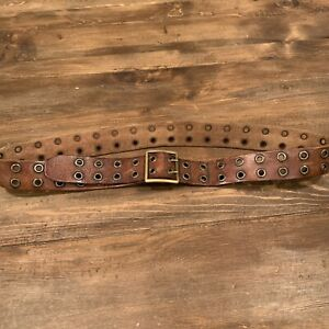 """MENS AMERICAN EAGLE DISTRESSED LEATHER DOUBLE GROMMET 1.5"""" BROWN BELT SIZE 36"""