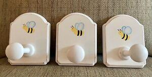 Set of 3 POTTERY BARN Kids Bee Honeybee Peg Wall Hooks White Wood