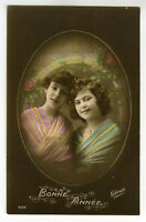 c 1917 Child Children YOUNG GIRL PAIR tinted French photo postcard