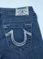 True Religion Jeans Size 29 Embroidered bootcut Mid Rise Denim dark blue