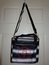 Thirty-One Cool Clips Thermal Bag Black and White Stripe with Red Floral Motif