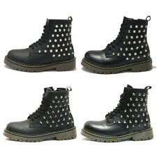 Leather Combat Boots Lace Up Casual Shoes for Women