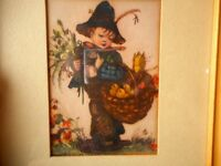 Hummel Print Boy Basket Chicks Kitsch Vintage Picture Framed Matted 1940's ?