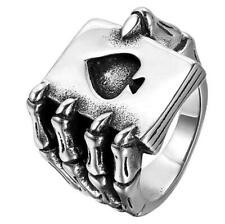 Men Stainless Steel Gothic Skull Hand Claw Poker Card Ace Ring Band Halloween