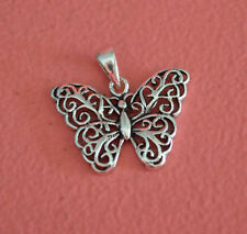 925 Sterling Silver Butterfly Charm  - Filigree Butterfly Pendant ONLY