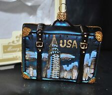 NEW IMPULS Glass Christmas Ornament CITY SCENES SUITCASE USA NEW YORK Poland