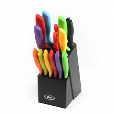 NEW*OSTER*Bright MULTI-COLOR*Kitchen Knives Knife CUTLERY SET*with WOOD BLOCK