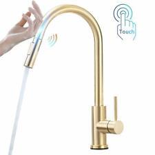 Gold Smart Touch Sensor Kitchen Faucet Pull Out Sprayer Swivel Spout Mixer Tap