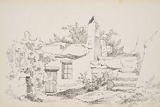 Etude de vieille Maison Troglodyte Dessin original XIX° v 1880