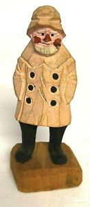 Vintage WOOD CARVING OLD SAILOR FISHERMAN With 6 Button Rain Coat And Hat