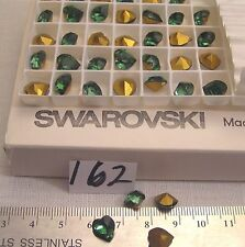 12 Vtg 9x8mm Heart Swarovski Rhinestone Turmaline Green Gold Foil Jewelry Craft