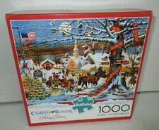 Buffalo Wysocki 1000 Piece Jigsaw Puzzle Small Town Christmas Includes Poster