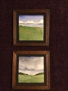 Pair Of Original Enamel On Copper Minatures By R W Floyd B A St Ives Cornwall