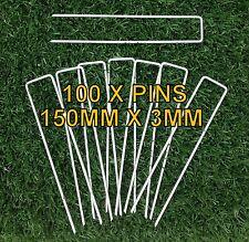 100 X Weed Mat Pins - 3mm X 150mm Secure Weedmat Geotextile Bird Netting Turf