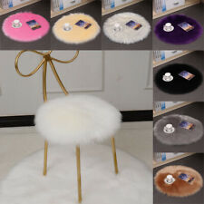 Thicken Faux Fur Wool Cushion Plush Chair Seat Set Pad Carpet Pads Round UK