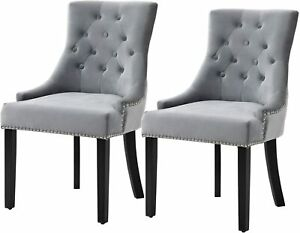 Sigtua 2 Set Dining Chairs Soft Velvet Padded Office Home Kitchen Lounge Chair