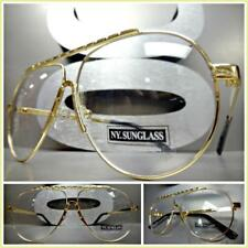 Men or Women Classic Vintage Retro Style Clear Lens EYE GLASSES Gold Metal Frame
