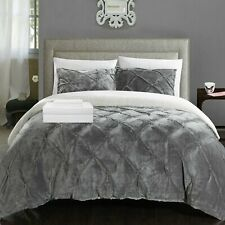 Roald 7 Piece Comforter Sherpa Lined Bed Set Sheets Decor Pillow Shams Grey