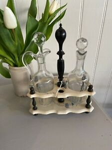 French Glass And Ceramic Vinegar Set Cream With Blue Floral
