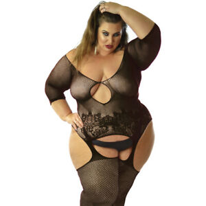 UK 6-28 Sexy Underwear Sleeved Lace Bodysuit Tights Full Body Covered Plus Size