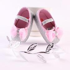 2PCS Baby Infant Girl Bow Soft Crib Sole Toddler Newborn Shoes + Hairband