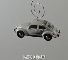 Classic White Volkswagen Beetle Custom Christmas Ornament VW Bug 1/64 Adorno