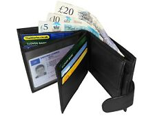 Mens Real Leather Wallet with 9 Credit Card Holder Spaces & Button Coin Pouch