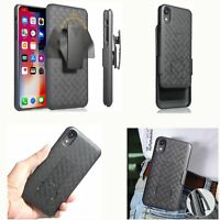 Hybrid Holster Case Cover Belt Clip Armor Stand Black For Apple iPhone XR XS Max