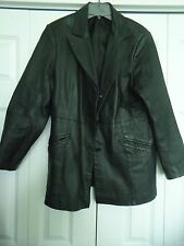 Woman's size 14 Long Black Leather Coat from Newportnews Styleworks