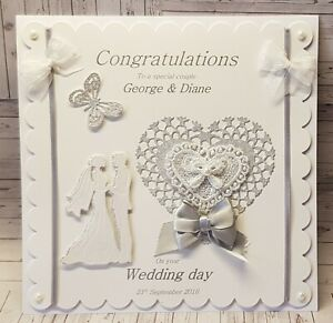 """Large Luxury """"8x8"""" Personalised 3D Wedding-Anniversary-Engagement Card"""