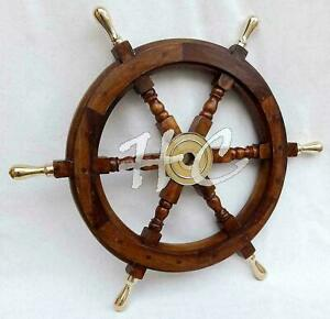 "Maritime Nautical Beach Ship Wheel 18"" Wooden Steering Boat Brass Spoke Captains"