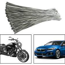 "100pcs x Stainless Steel Zip Ties Exhaust Wrap Header 11.8"" Metal Locking Wrap"
