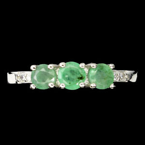 Unheated Round Emerald 4mm 14K White Gold Plate 925 Sterling Silver Ring Size 8