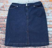 Lands End Denim Jean Skirt Size 12 Knee Length Pencil Front Slit Dark Blue