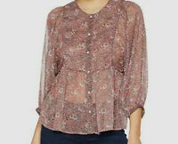 $450 Lucky Brand Women's Pink Long-Sleeve Floral-Print Blouse Peasant Top Size L