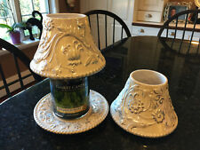 Yankee Candle Shade Topper (2) & 1 Saucer Tassle Rope White Silver wedding Large