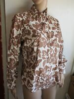 Boden Button-Up Shirt Blouse Top Women US 8 UK 12 White brown Floral long sleeve