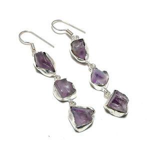 "African Amethyst Gemstone Handmade 925 Sterling Silver Jewelry Earring 2.5"""