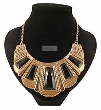 Gold Black Tribal Large Decorated Geometric Statement Necklace