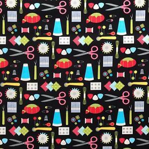 Sew Crafty sewing icons pincushion needle scissor black fabric by Robert Kaufman