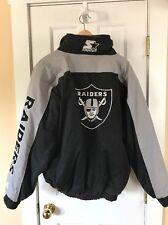 Raiders Vintage Starter NFL Football Grey/Black Zip Jacket  XL/Mens M Youth