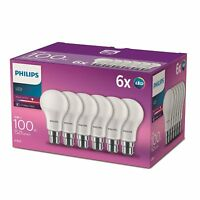 6 PK Philips LED Frosted B22 Bayonet Cap 100w Warm White Light Bulb Lamp 1521lm