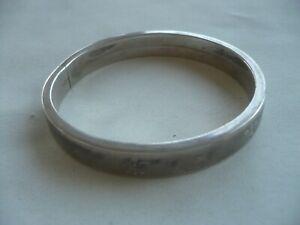 Bracelet jonc plat ancien argent massif Fleur de Lys 20,5 Grs