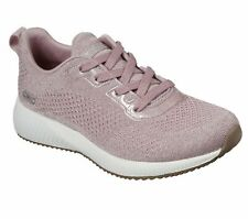 Skechers 117006 Bob Squad Glitz Maker Ladies Pink Sparkle Lace Up Trainers