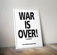 WAR IS OVER, John Lennon & Yoko poster Artwork/Print. Available in various sizes