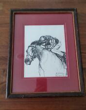 Equine with Rider Print by M Schoeman Framed and Signed 15x12 inches