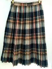 VTG Raspini Wool Blend Plaid Long Pleated Skirt Womens Sz 7/8