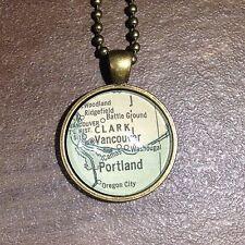 CLARK VANCOUVER BRITISH COLUMBIA CANADA Map Pendant Bronze necklace ATLAS